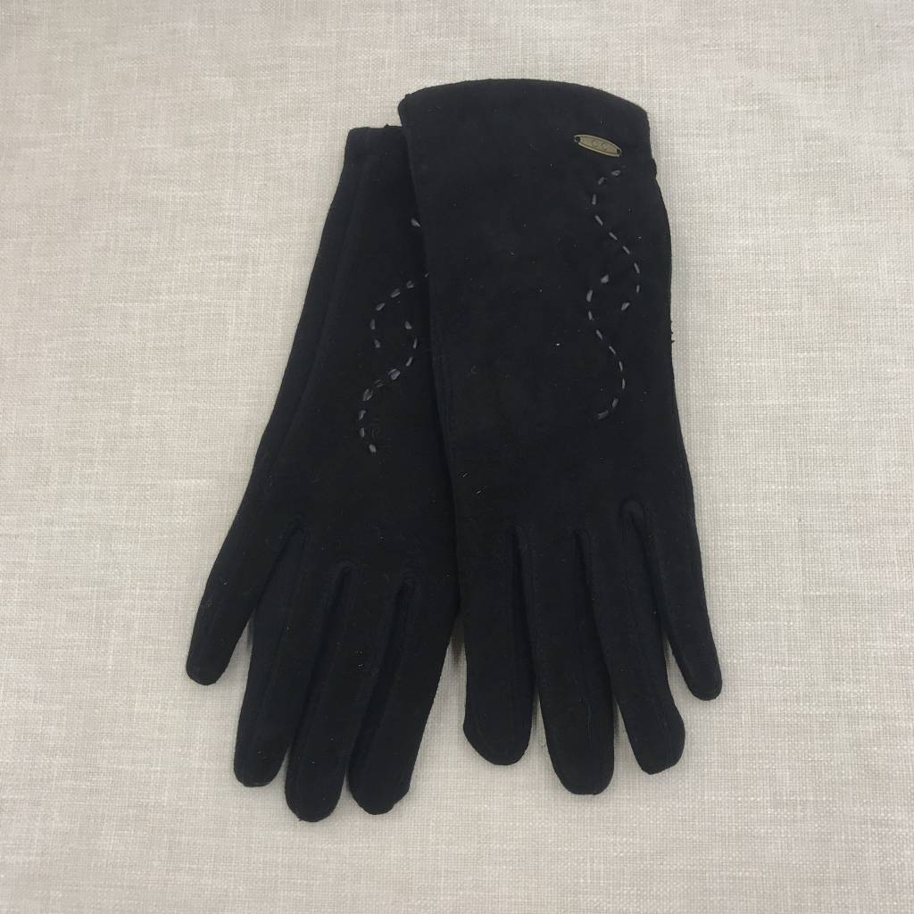 Cheveux Corp. Black Cotton and Suede Gloves