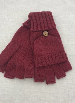 Cheveux Corp. Red Knit Open Finger Glove with Cover