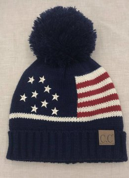 Cheveux Corp. American Flag Pom CC Hat