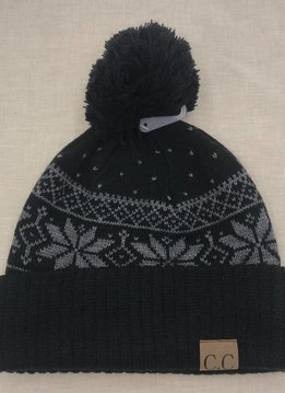 Cheveux Corp. Black CC Winter Snowflake Beanie