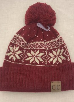 Cheveux Corp. Red CC Winter Snowflake Beanie