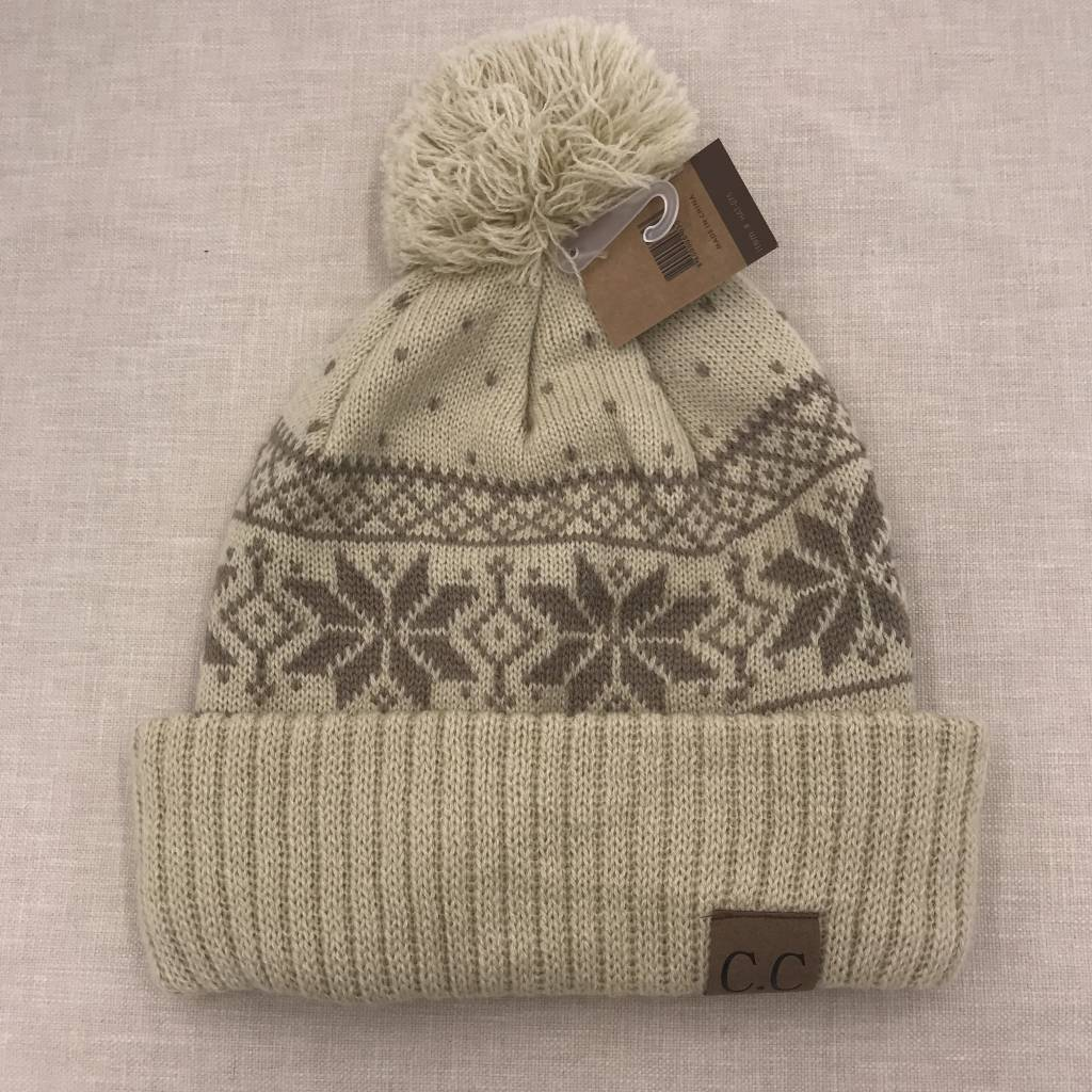 Cheveux Corp. Beige CC Winter Snowflake Beanie