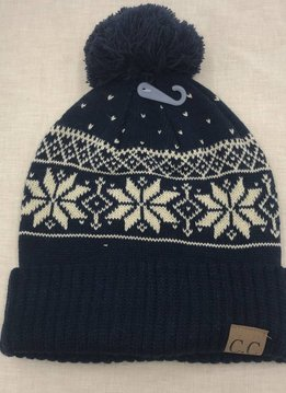 Cheveux Corp. Navy CC Winter Snowflake Beanie