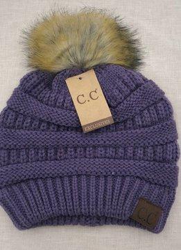 Cheveux Corp. Violet Knit CC Hat with Natural Faux Pom
