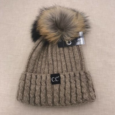 C.C. CC Knit Hat With Puff and Knit Rim Taupe