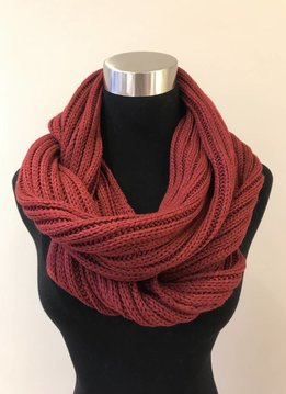 Cheveux Corp. Burgundy Ribbed Infinity CC Scarf