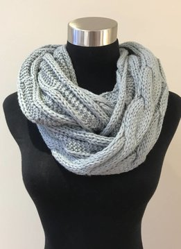 Cheveux Corp. Natural Grey Knit Infinity CC Scarf