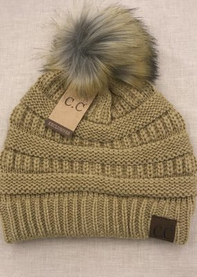 C.C. Camel Knit CC Hat with Natural Faux Pom