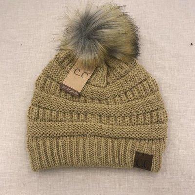 C.C. Camel Knit CC Hat with Natural Faux Pom