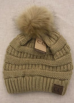 Cheveux Corp. Camel Knit CC Hat with Color Matched Pom