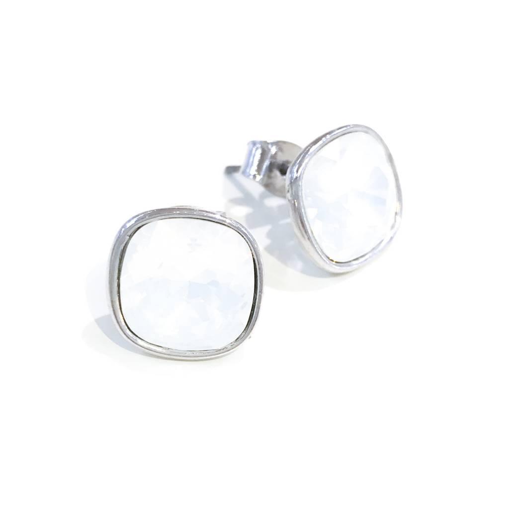 Forever Crystals Bezel-Set Cushion Stud (White Opal)