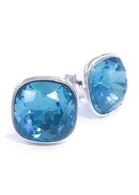 Forever Crystals Bezel-Set Cushion Stud (Indicolite)