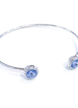 Forever Crystals Lifestone Open Bangle w/Crystal Tips (Light Sapphire)