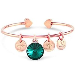 Forever Crystals Memoir Open Bangle Rose Gold (Emerald)