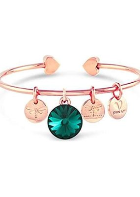 Forever Crystals Memoir Open Bangle Rose Gold (Emerald)