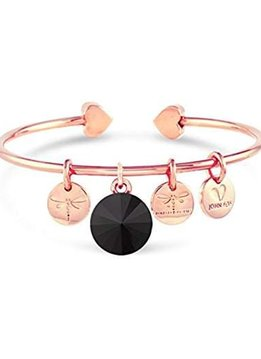 Forever Crystals Memoir Open Bangle Rose Gold (Jet)