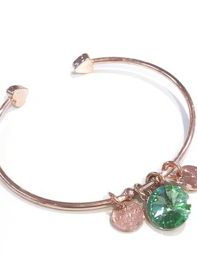 Forever Crystals Memoir Open Bangle Rose Gold (Peridot)