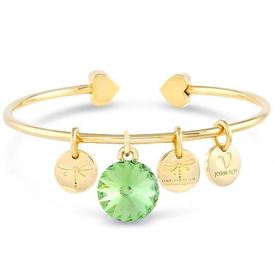 Forever Crystals Memoir Open Bangle Gold (Peridot)