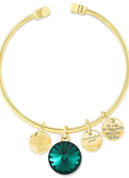 Forever Crystals Memoir Open Bangle Gold (Emerald)