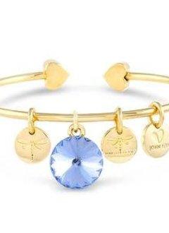 Forever Crystals Memoir Open Bangle Gold (Light Sapphire)