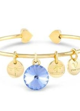 Forever Crystals Memoir Open Bangle Gold (Light Sapphire)