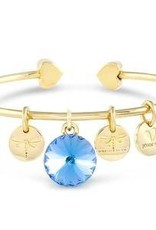 Forever Crystals Memoir Open Bangle Gold (Aquamarine)