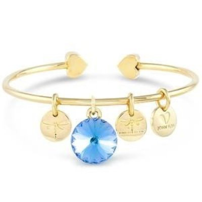 Forever Crystals Memoir Open Bangle Gold (Aquamarine)