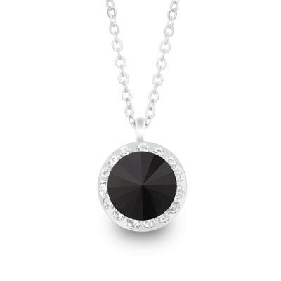 Forever Crystals Necklace w/ Halo Pendant (Jet)