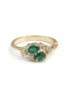 Gold May Birthstone Ring SZ 6