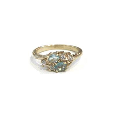 Gold March Birthstone Ring SZ 6