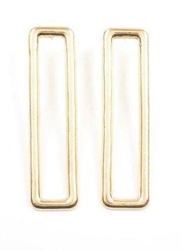 Ink + Alloy Brass Long Rectangle 3 inch Earrings