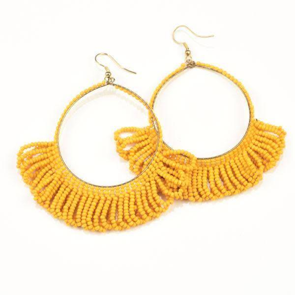 Ink + Alloy Mustard Fringe Hoop Seed Bead 2.5 inch Earrings