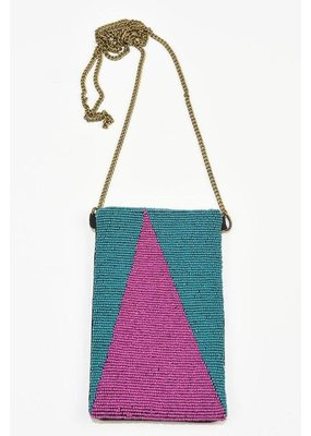 Ink + Alloy Teal and Magenta Triangle Seed Bead Cross Body Bag
