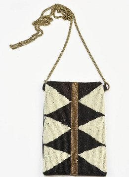 Ink + Alloy Black Triangles with Gold Stripe Seed Bead Cross Body Bag