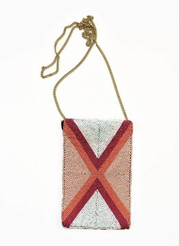 Ink + Alloy Terra Cotta, Pink and Mint Seed Bead Cross Body Bag