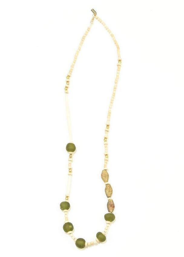 Ink + Alloy Olive Glass White Hairpipe Brass and Wood Necklace
