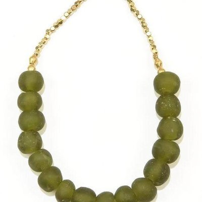 Ink + Alloy Olive Ghana Glass and Brass Short 16 inch Necklace
