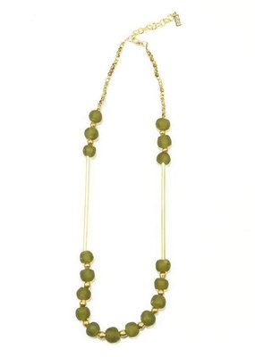 Ink + Alloy Olive Glass and Brass Bar Necklace