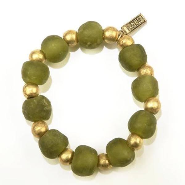 Ink + Alloy Olive Ghana Glass Recycled Glass and Brass Bead Stretch Bracelet