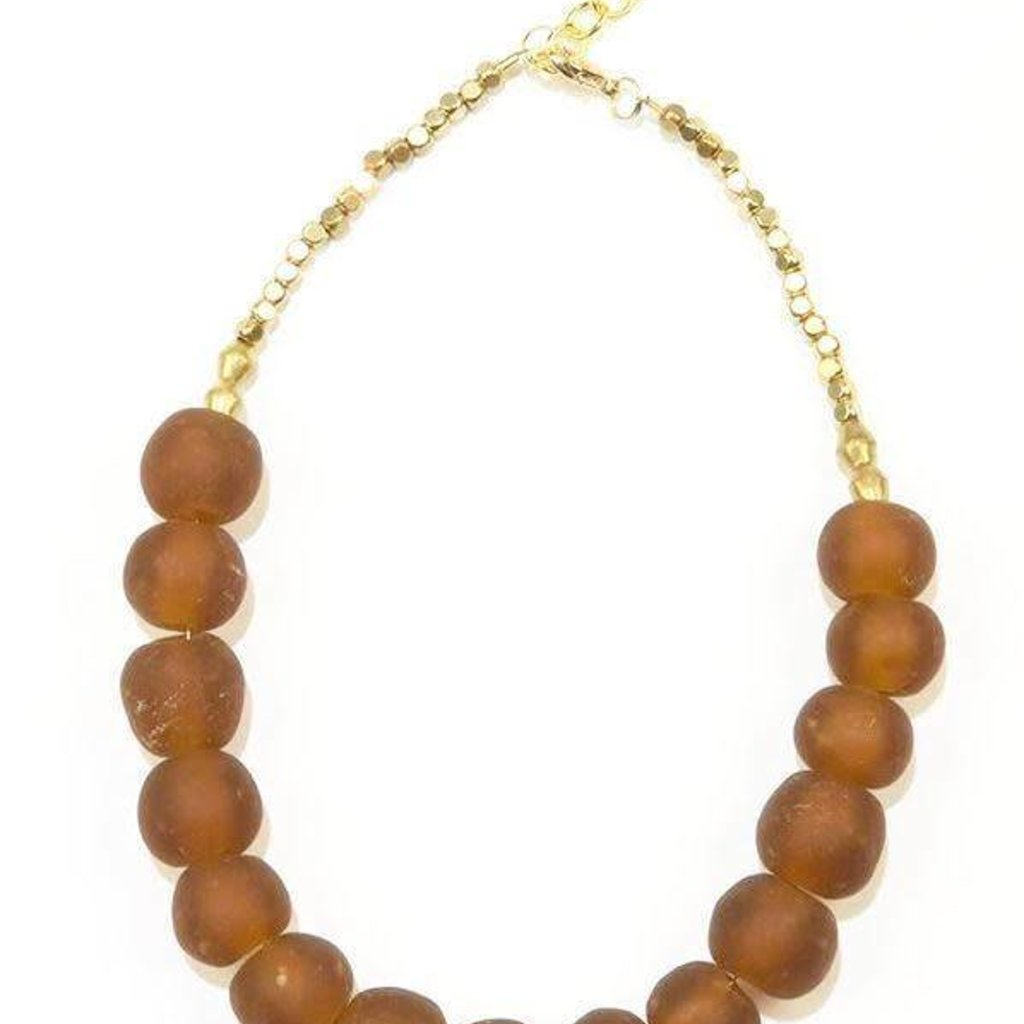 Ink + Alloy Amber Ghana Glass and Brass Short Necklace