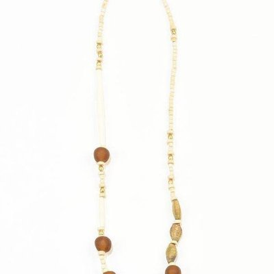 Ink + Alloy Amber Ghana Glass White Hairpipe Brass and Wood Necklace