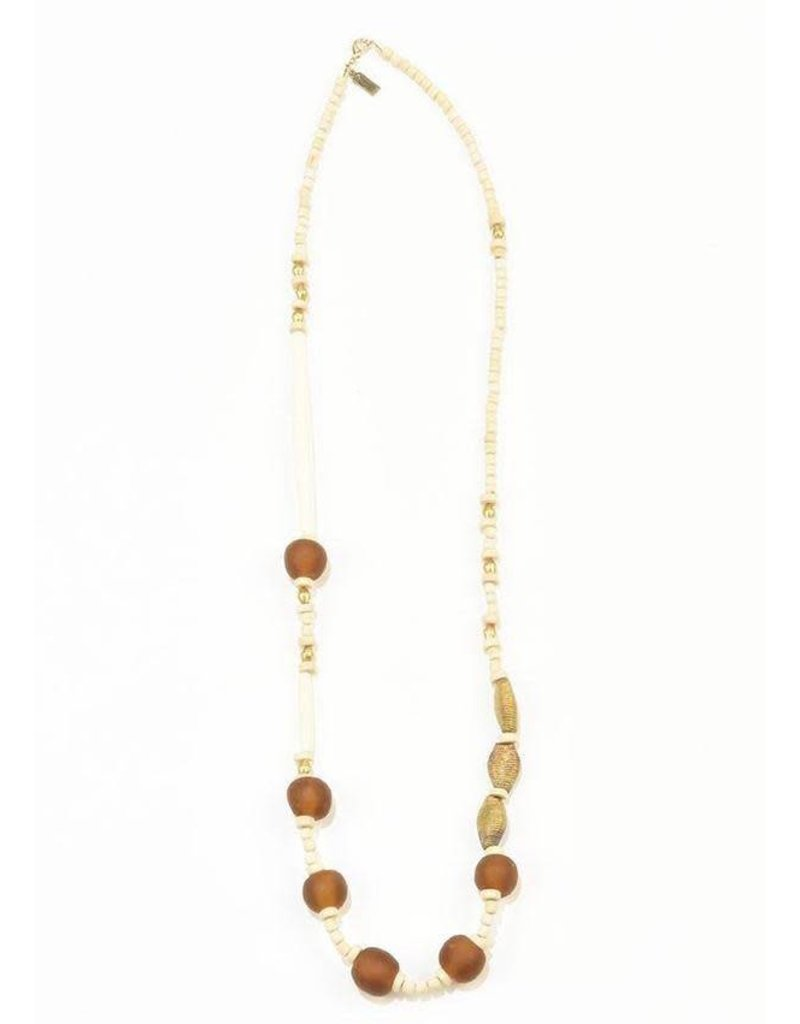 Ink + Alloy Amber Ghana Glass Wood Necklace