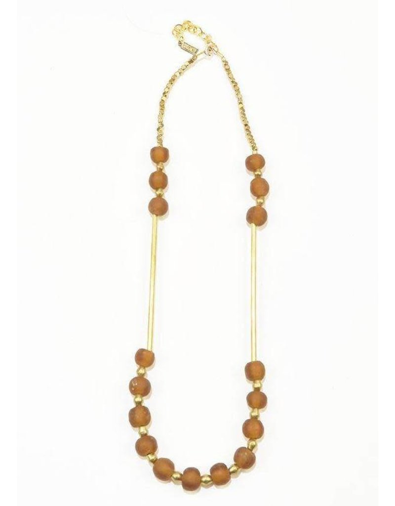 Ink + Alloy Amber Ghana Glass and Brass Bar Necklace