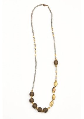 Ink + Alloy Taupe Glass Wood Necklace