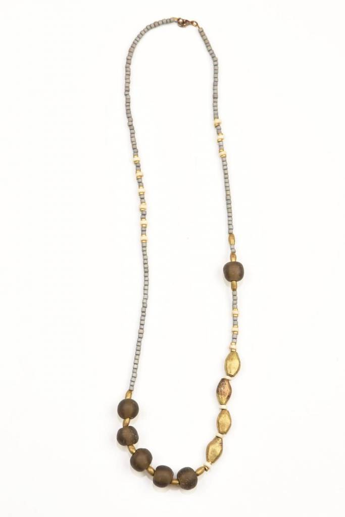 Ink + Alloy Taupe Glass Brass and Wood Necklace