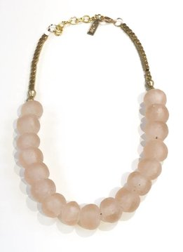 Ink + Alloy Pink Glass and Brass Short Necklace