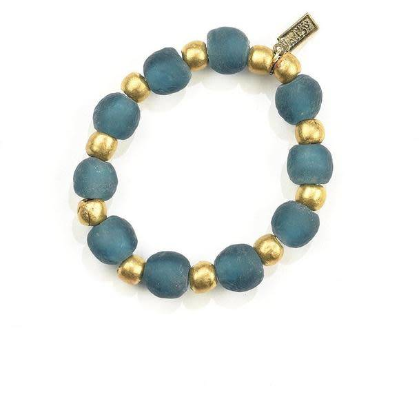 Ink + Alloy Teal Ghana Glass Recycled Glass and Brass Bead Stretch Bracelet