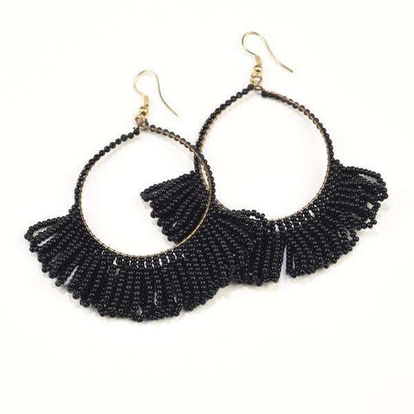 Ink + Alloy Black Fringe Hoop Seed Bead Earrings