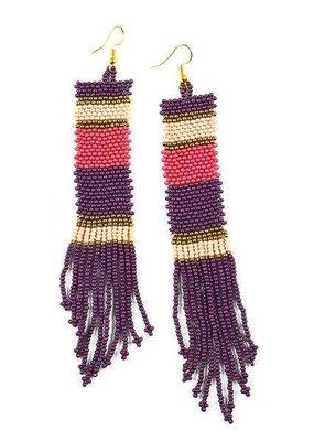 Ink + Alloy Port, Pink, Terra Cotta Long Stripe Seed Bead Earrings
