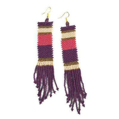 Ink + Alloy Port, Pink, Terra Cotta Long Stripe Seed Bead Earrings